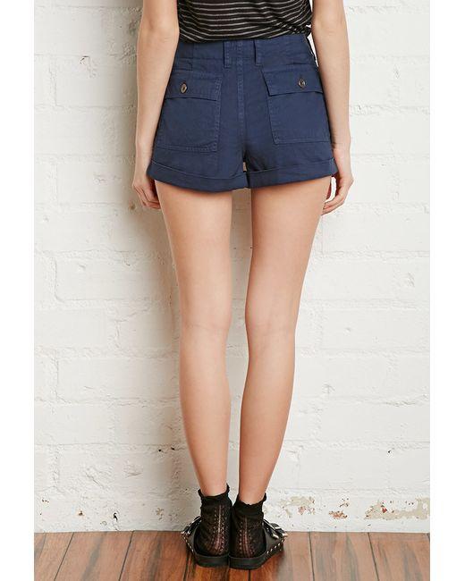 Forever 21   Blue Cuffed-hem Cotton Shorts   Lyst