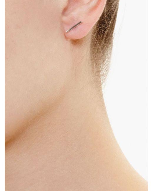 Asherali Knopfer | Metallic 18kt White Gold Bar Earring | Lyst