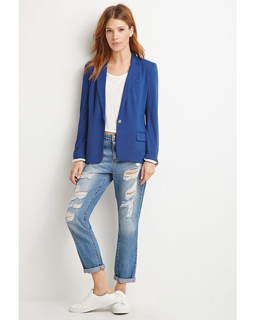 Forever 21 | Blue Contemporary Single-button Knit Blazer | Lyst