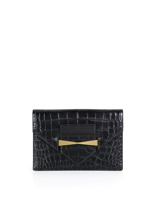 Alexander McQueen | Black Crocodile-embossed Envelope Clutch | Lyst