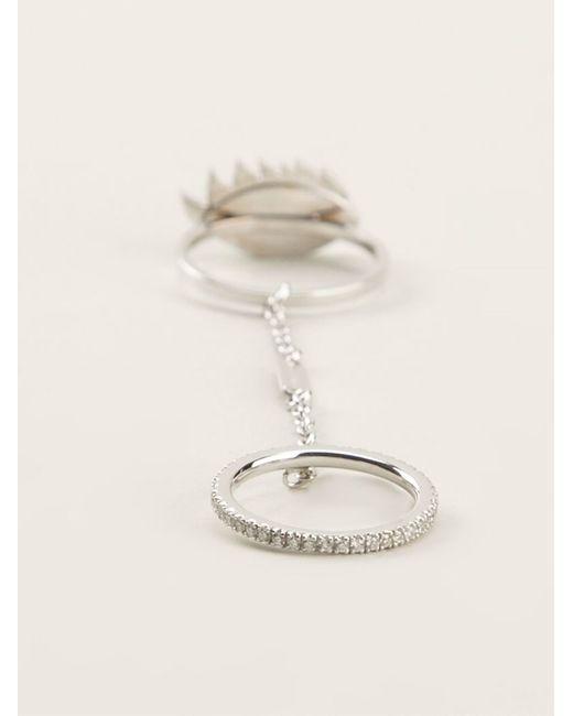 Delfina Delettrez | Metallic 'two In One' Sapphire And Diamond Eye Ring | Lyst
