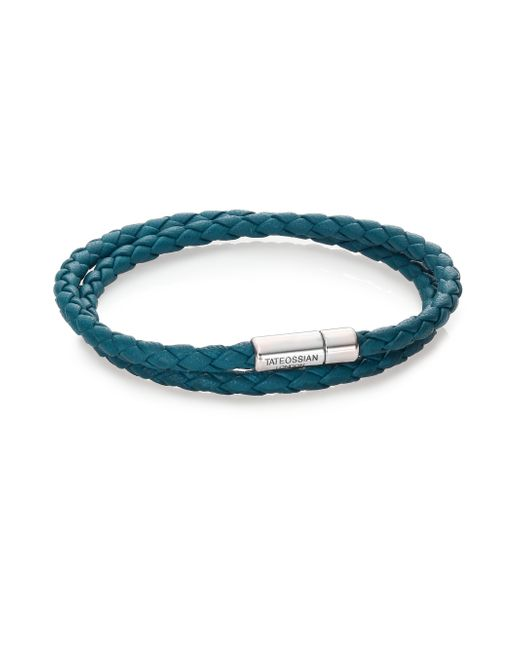 Tateossian | Metallic Scoubidou Leather & Sterling Silver Braided Double-wrap Bracelet for Men | Lyst