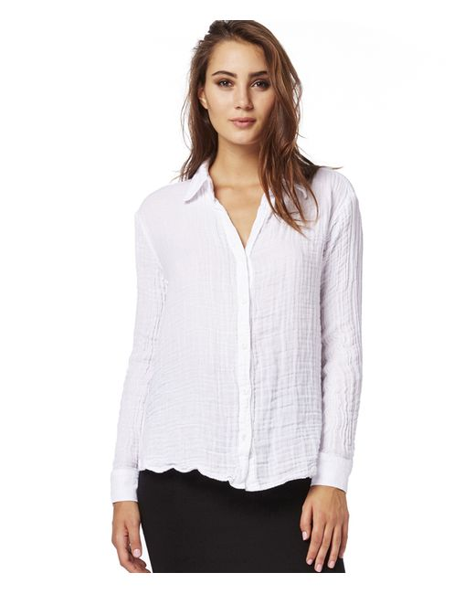 Michael stars double gauze button down in white lyst for Gauze button down shirt