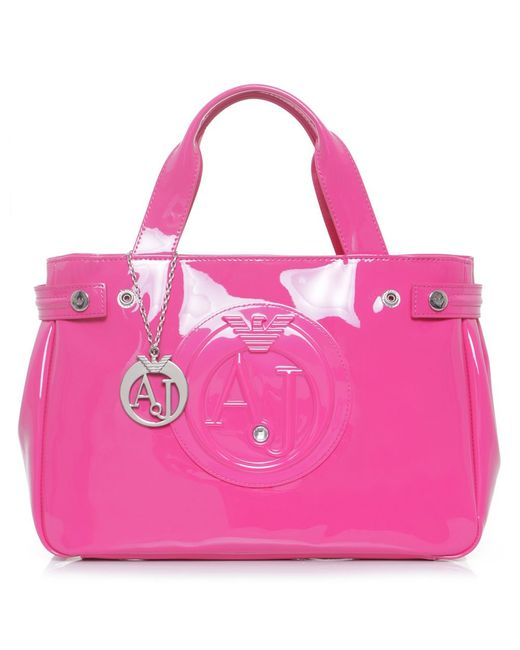armani jeans small patent shopper bag in pink lyst. Black Bedroom Furniture Sets. Home Design Ideas