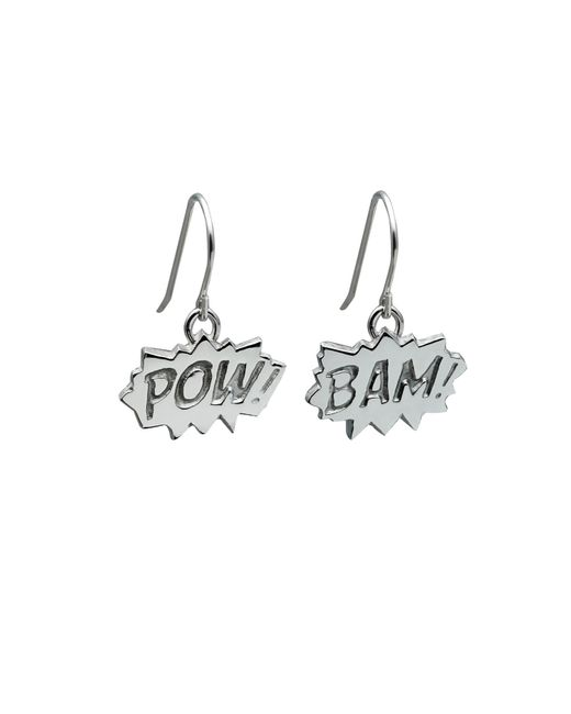 Edge Only | Metallic Pow And Bam Drop Earrings In Silver | Lyst