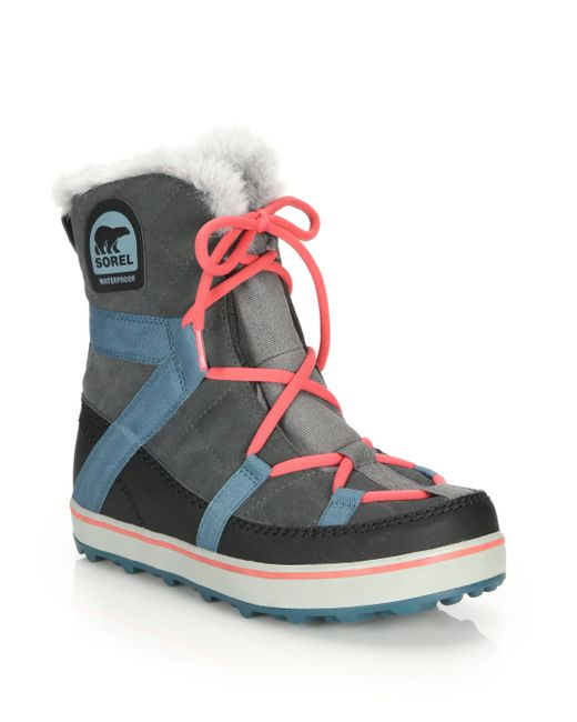 Sorel | Gray Glacy Explorer Faux Fur-trimmed Suede & Canvas Boots | Lyst