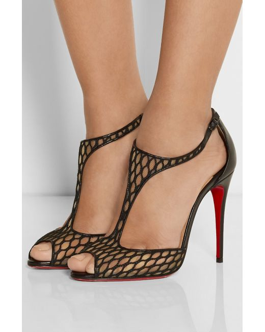 Christian louboutin Tiny Fishnet Leather T-Bar Sandals in Black | Lyst