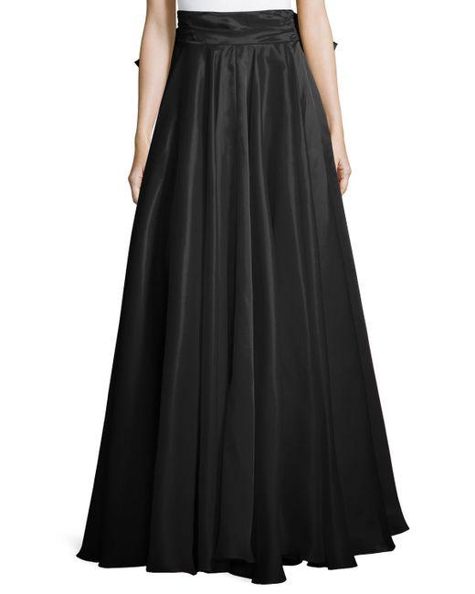 MILLY | Black Bow-back Silk Maxi Skirt | Lyst