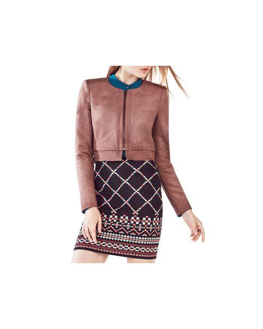 BCBGMAXAZRIA | Brown Duke Faux Leather Cropped Jacket | Lyst