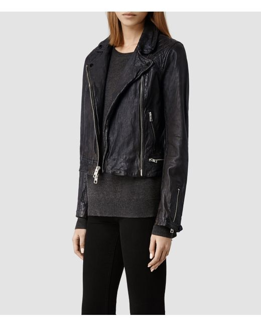 Allsaints Conroy Leather Biker Jacket Usa Usa In Blue For
