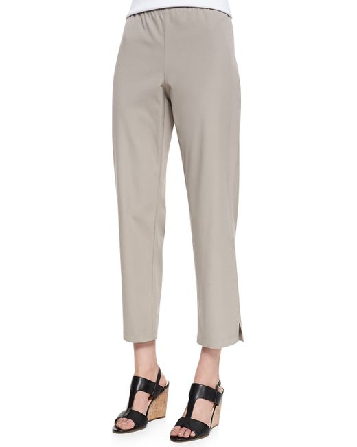 Eileen Fisher | Gray Organic Stretch Twill Slim Ankle Pants | Lyst