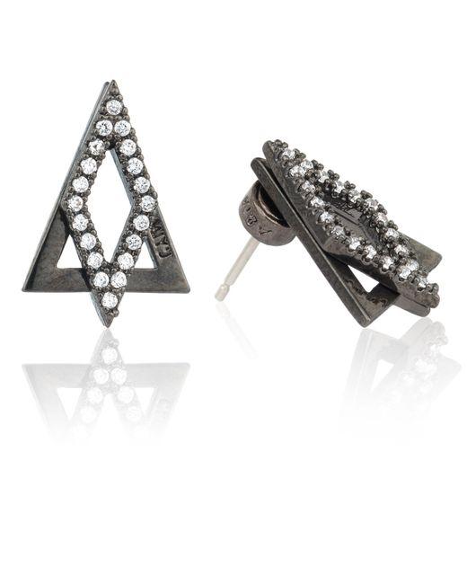 Astrid & Miyu | Gray Diamond Ear Jacket In Gunmetal | Lyst