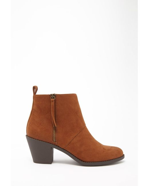 Forever 21   Brown Faux Suede Booties   Lyst