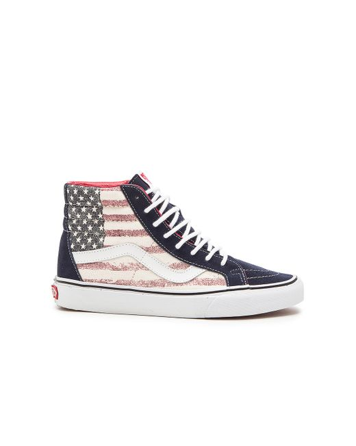 c8cc127acd06ab Vans SK8-Hi HI TOP Dress Blues Americana USA Flag Mens Shoes Sizes ...