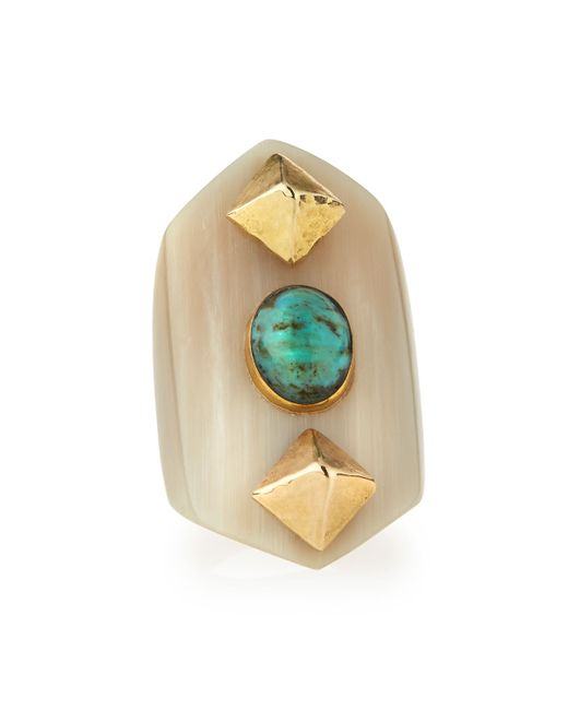 Ashley Pittman | Metallic Mwamba Horn Ring With Turquoise | Lyst