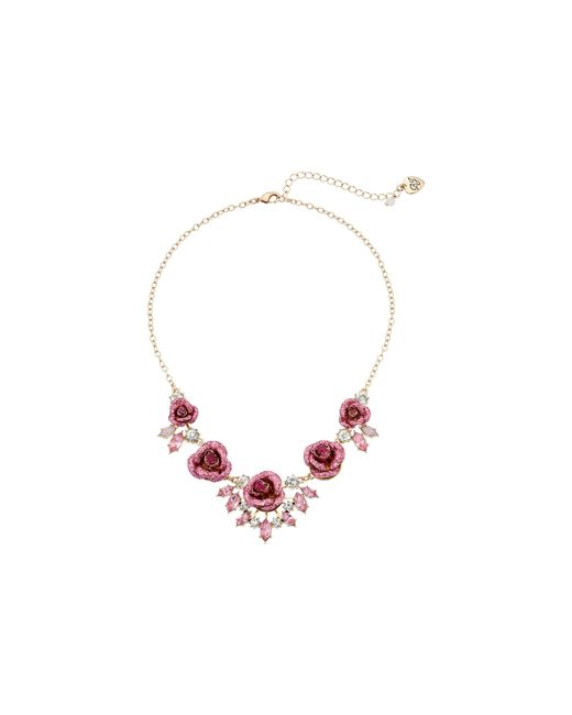 Betsey Johnson | Pink Glitter Rose Necklace Rose | Lyst