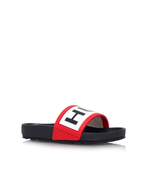 Hunter | Pink Logo Slide Sandal | Lyst