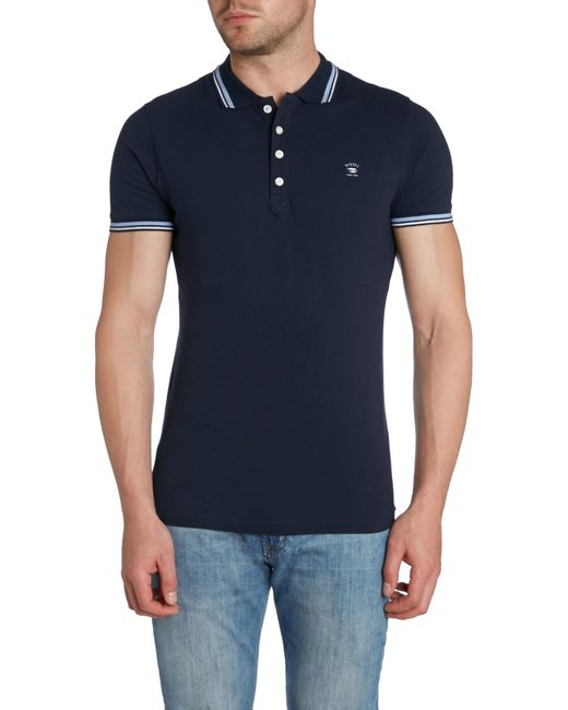 DIESEL | Blue T-oin Double Tipped Logo Polo for Men | Lyst