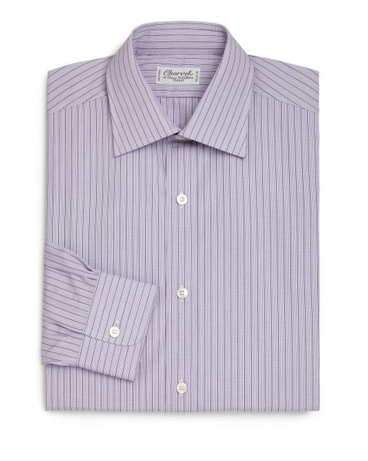 Charvet regular fit check striped dress shirt in purple for Purple striped dress shirt