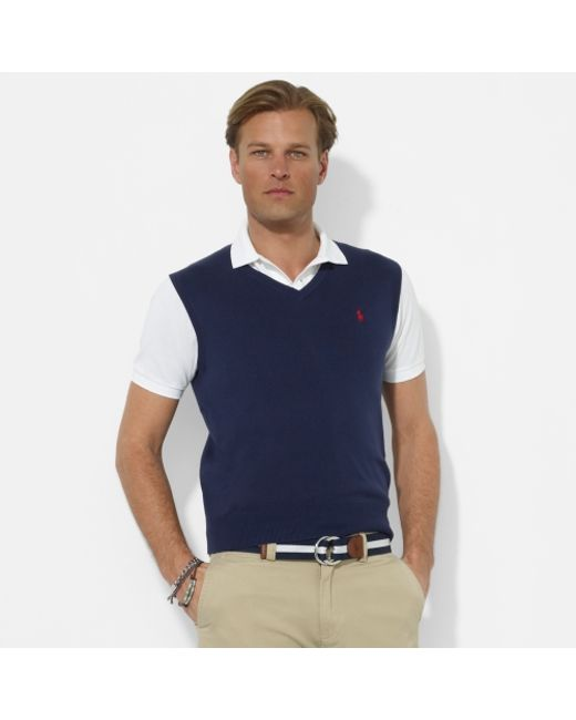 Polo ralph lauren Pima V-neck Sweater Vest in Blue for Men | Lyst