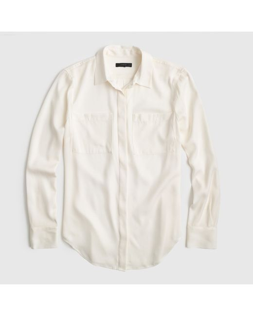 J.Crew | White Silk Pocket Blouse | Lyst