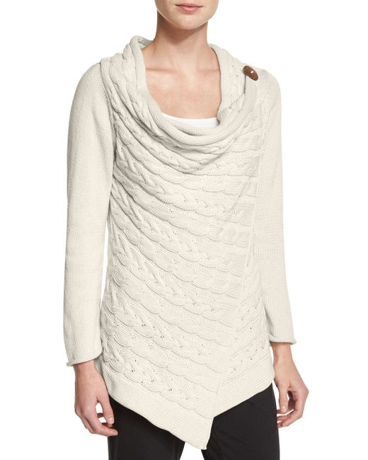 Pure Handknit | Natural Draped-neck Cable-knit Cardigan | Lyst