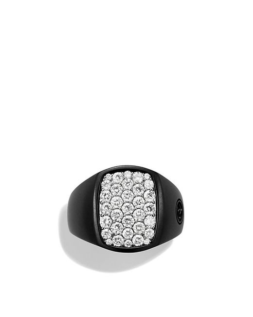 David Yurman | Pavé Pinky Ring With Diamonds And Black Titanium for Men | Lyst