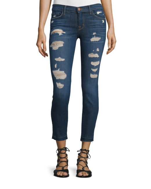 J brand Low-rise Distressed Cropped Jeans in Blue