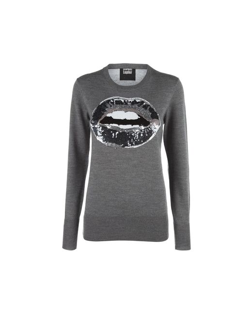 Markus Lupfer | Gray Talking Lip Sequined Sweater | Lyst