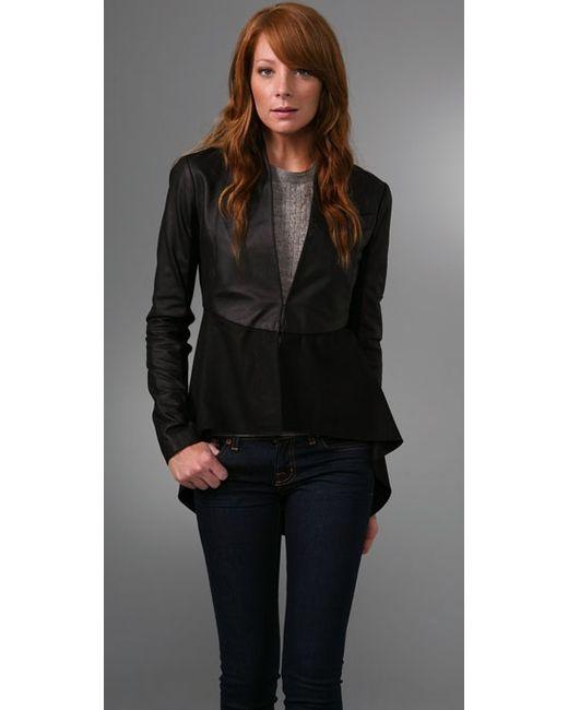 VEDA | Black Leather Sleeve Coat | Lyst