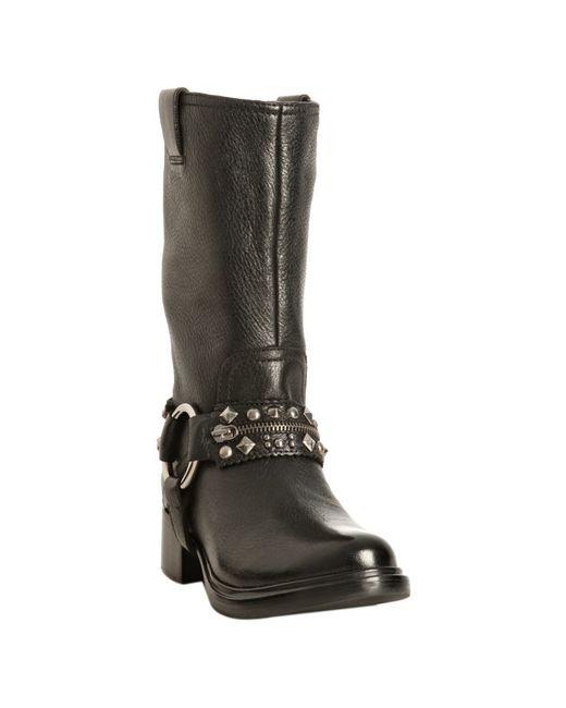 Miu Miu   Black Leather Studded Harness Boots   Lyst