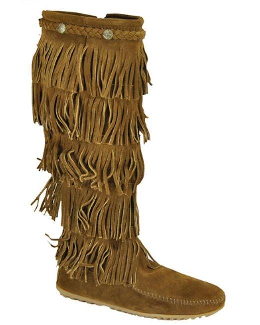 Minnetonka | Brown Suede Fringe Boot | Lyst