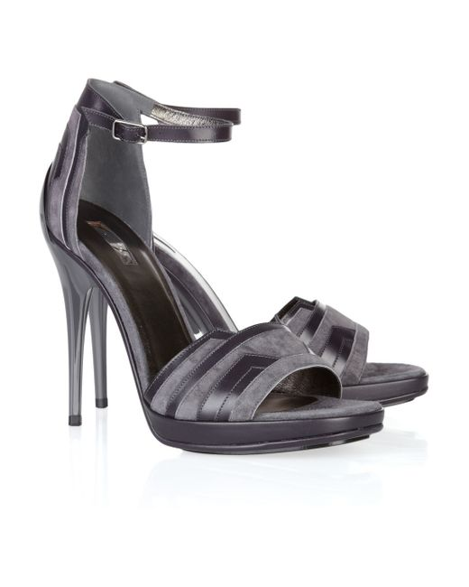 Calvin Klein | Gray Nala Leathertrimmed Suede Sandals | Lyst