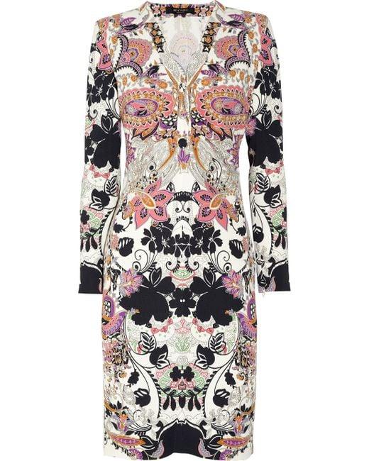 Etro | Pink Paisleyprint Stretchcrepe Dress | Lyst