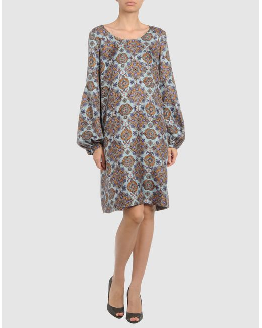 See By Chloé | Gray Cotton- Popeline Printed Dress | Lyst