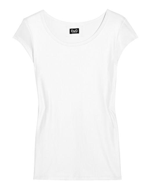 Dolce & Gabbana   White Cap-sleeved Jersey T-shirt   Lyst