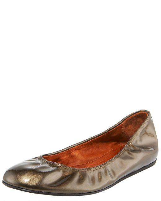 Lanvin | Metallic Pearlized Patent Ballerina | Lyst