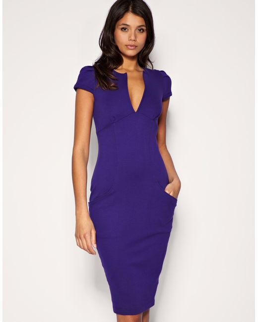 ASOS Collection | Purple Asos Ponti Pencil Dress with Pockets | Lyst