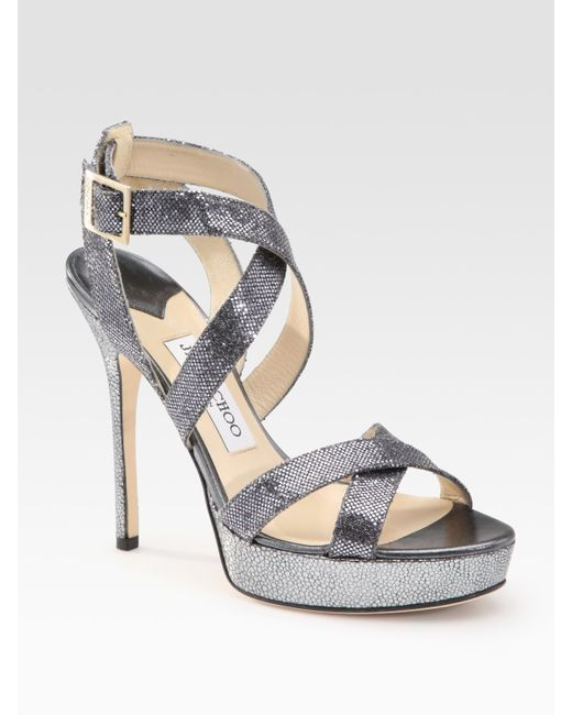 Jimmy Choo | Gray Vamp Glitter-covered Leather Sandals | Lyst