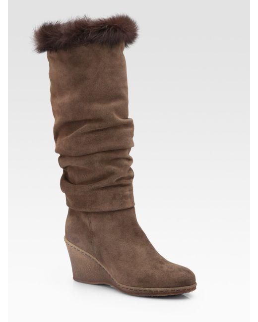 Aquatalia | Black Weatherproof Suede Scrunched Kneehigh Wedge Boots | Lyst