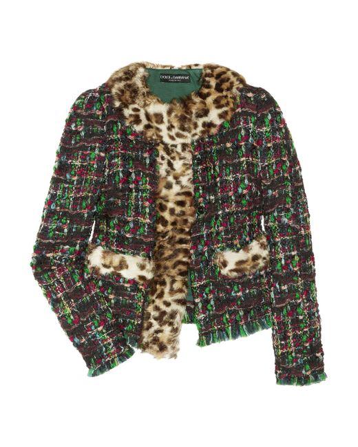 Dolce & Gabbana | Purple Wool-trimmed Tweed Jacket | Lyst