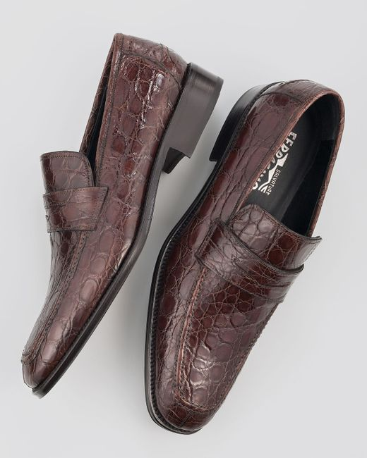 Ferragamo | Brown Pireneo Exotic Moccasin for Men | Lyst