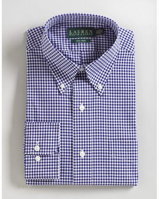 Lauren by ralph lauren gingham button down shirt in blue for Blue gingham button down shirt
