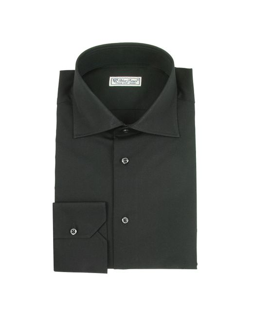 Forzieri blue roses solid black wide spread collar for Mens wide collar dress shirts