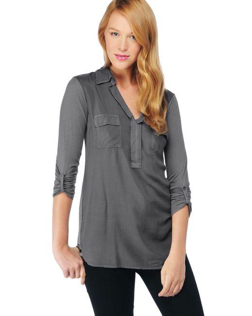 Splendid   Gray 3/4 Sleeve Mixed Media Top   Lyst