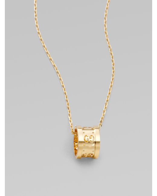 Gucci | Metallic 18k Yellow Gold Small Gg Barrel Necklace | Lyst