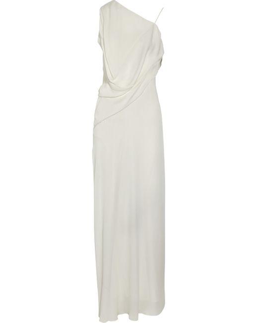 Max Azria | White Asymmetric Silk Crepe De Chine Gown | Lyst