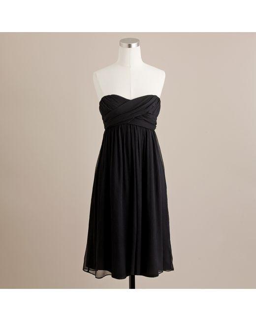 J.Crew | Black Taryn Dress in Silk Chiffon | Lyst