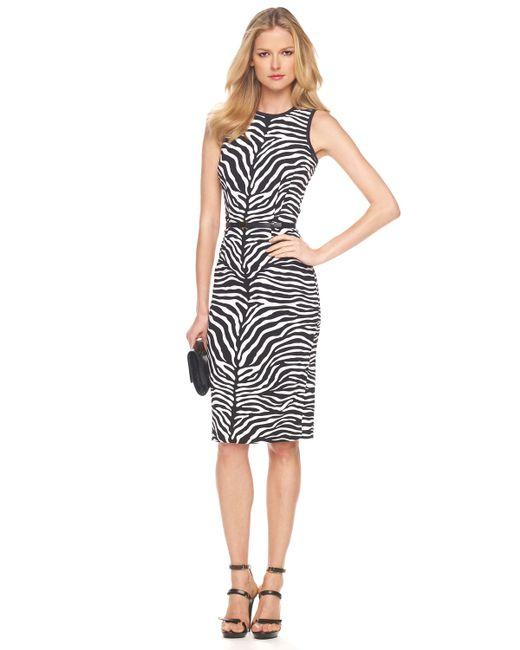 Michael Kors | Black Zebra-print Sheath Dress | Lyst