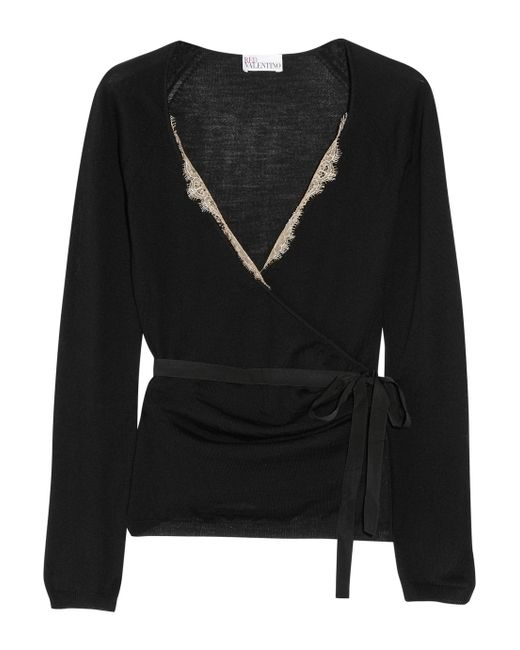 RED Valentino | Black Lace Trimmed Wool Wrap Cardigan | Lyst